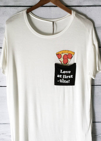 Love At First Bite Pizza Pocket Tee Shirt in White