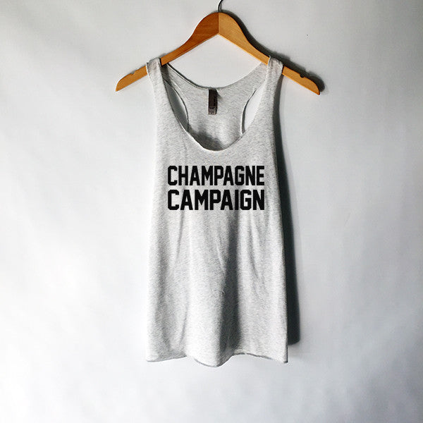 Champagne Campaign Tank Top in Heather White