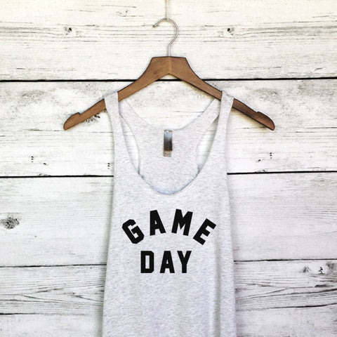 Game Day Tank Top in Heather White