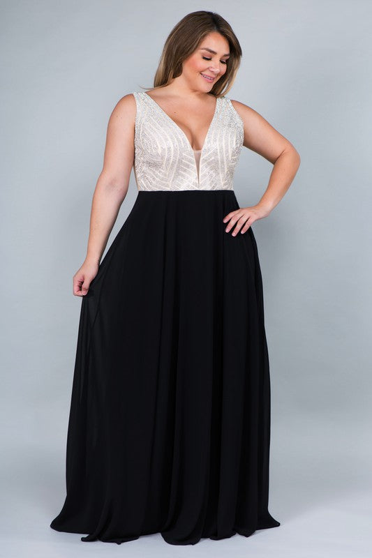 CURVY B BLACK RHINESTONE AND CHIFFON FORMAL