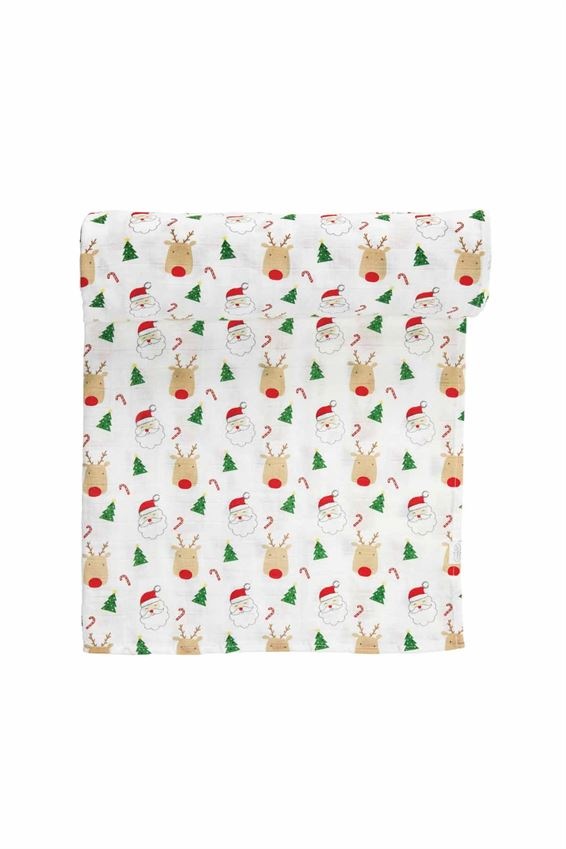 CHRISTMAS MUSLIN SWADDLE BLANKET