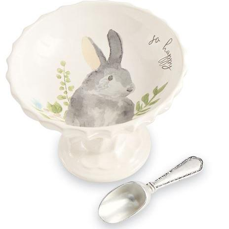 GRAY WATERCOLOR BUNNY PEDESTAL