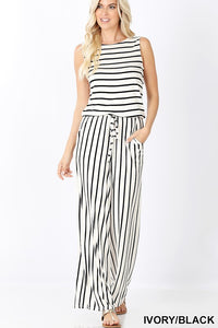 IVORY AND BLACK JUMPSUIT