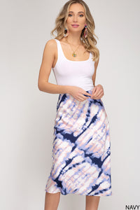 TIE DYED MIDI SKIRT NAVY AND PINK