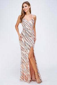 ROSE GOLD AND SILVER SEQUIN FORMAL