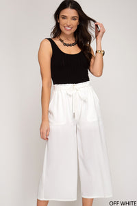LANEY WHITE CULOTTE PANTS