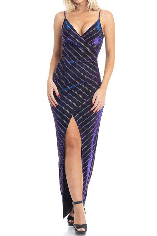 PURPLE WITH GOLD STRIPE FORMAL