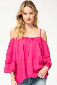 KATRINA HOT PINK TIERED TOP