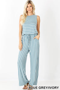 IVORY AND BLUE GREY JUMPSUIT