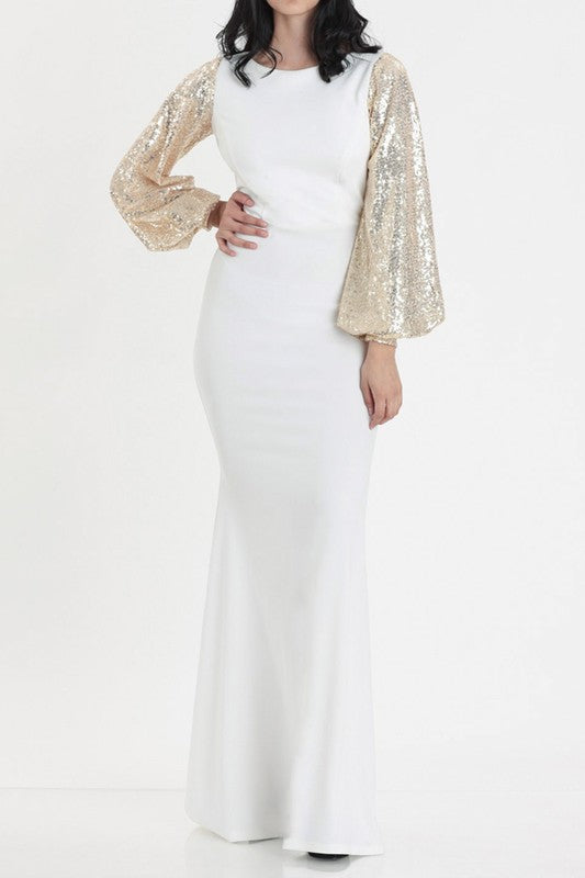 IVORY AND GOLD SEQUIN BALLOON SLEEVE FORMAL