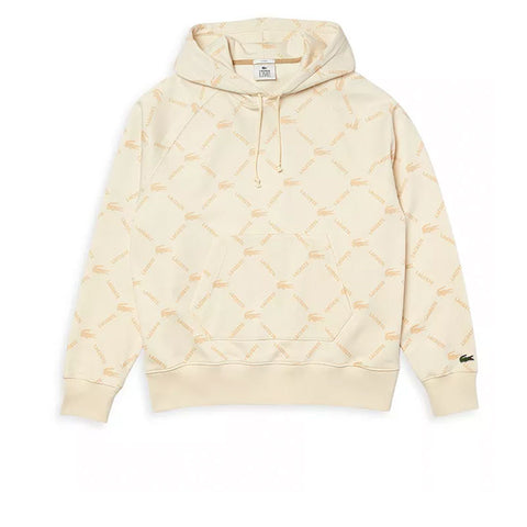 LACOSTE LIVE UNISEX RELAXED FIT HOODED MONOGRAM SWEATSHIRT NATUREL SH9200-51