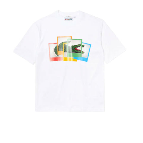 LACOSTE LIVE X POLAROID LOOSE FIT COTTON T-SHIRT WHITE TH2184-51