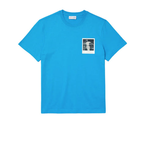 LACOSTE X POLAROID BREATHABLE THERMOSENSITIVE BADGE T-SHIRT BLUE TH2093-51