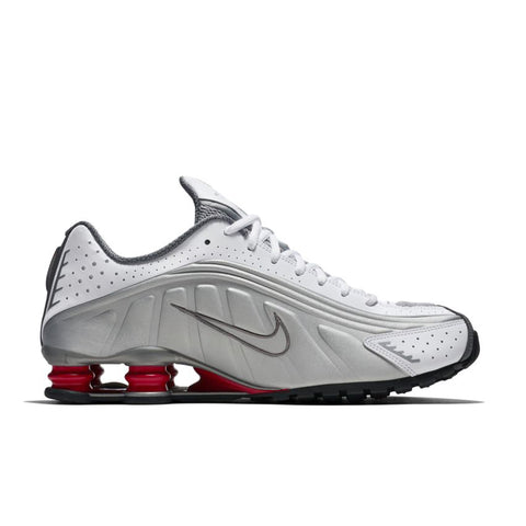 NIKE SHOX R4 WHITE/METALLIC SILVER-COMET RED-BLACK BV1111-100