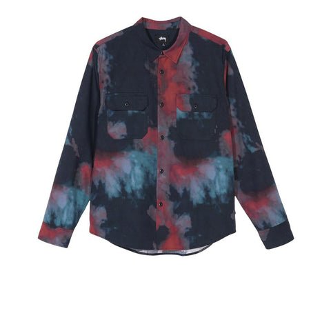 STUSSY DARK DYE WORK SHIRT BLACK 1110089