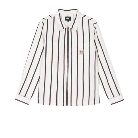 STUSSY ZIP UP WORK SHIRT STRIPE 1110092