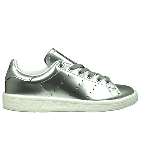 WOMEN'S ADIDAS STAN SMITH BOOST Metallic SILVER/Ftw White BB0108