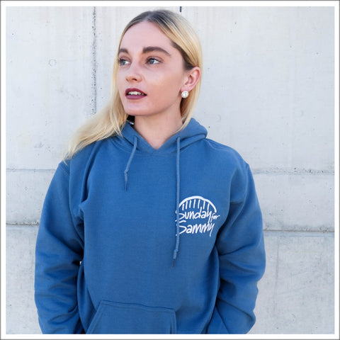 Embroidered Hoodie Blue