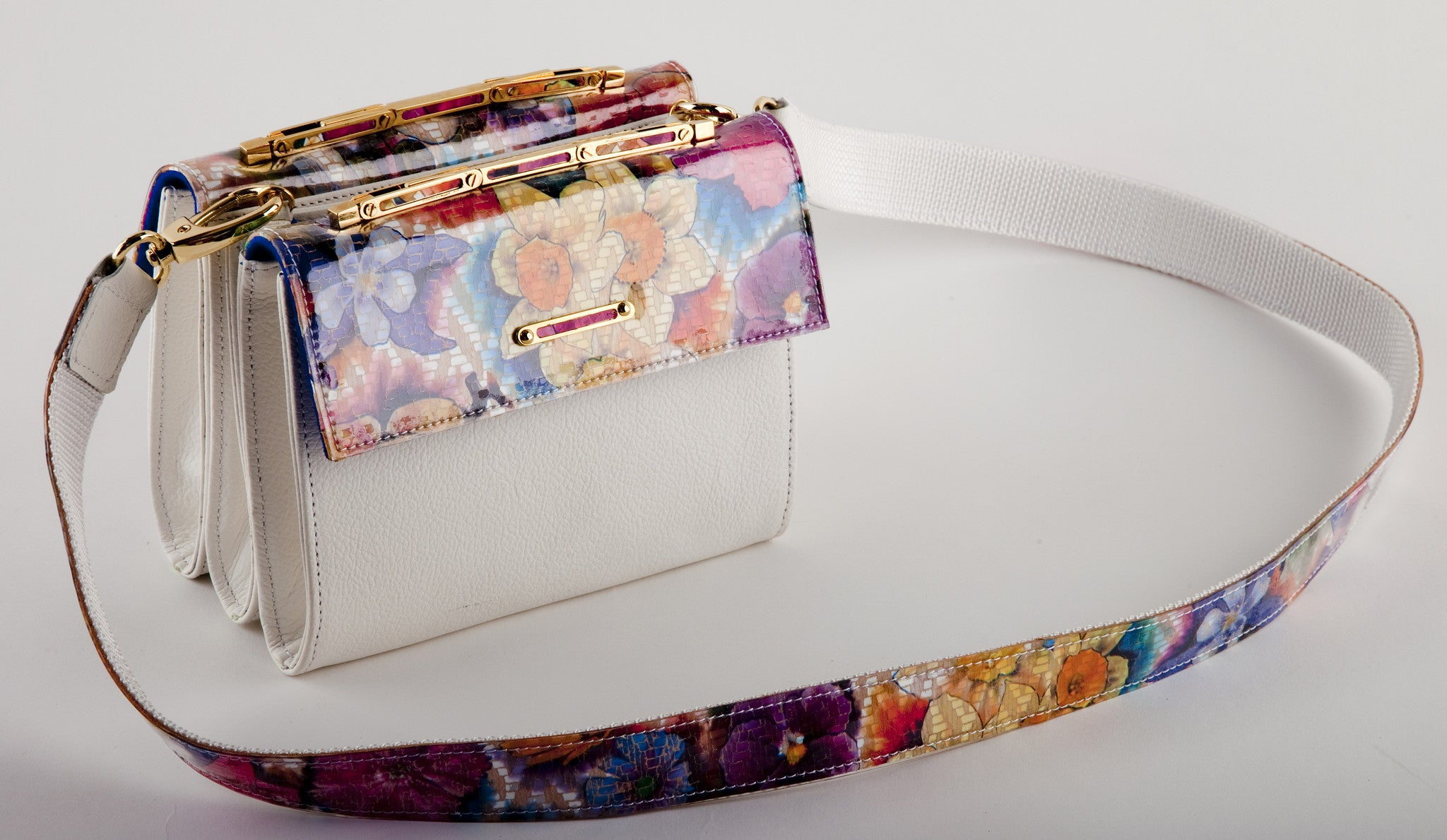 STELLA<br>White Leather/Floral Leather