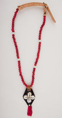 MERAKI BY WANDERLISTA <br> Greek Market Jennet Pendant, Vintage Ceramic Red Beads
