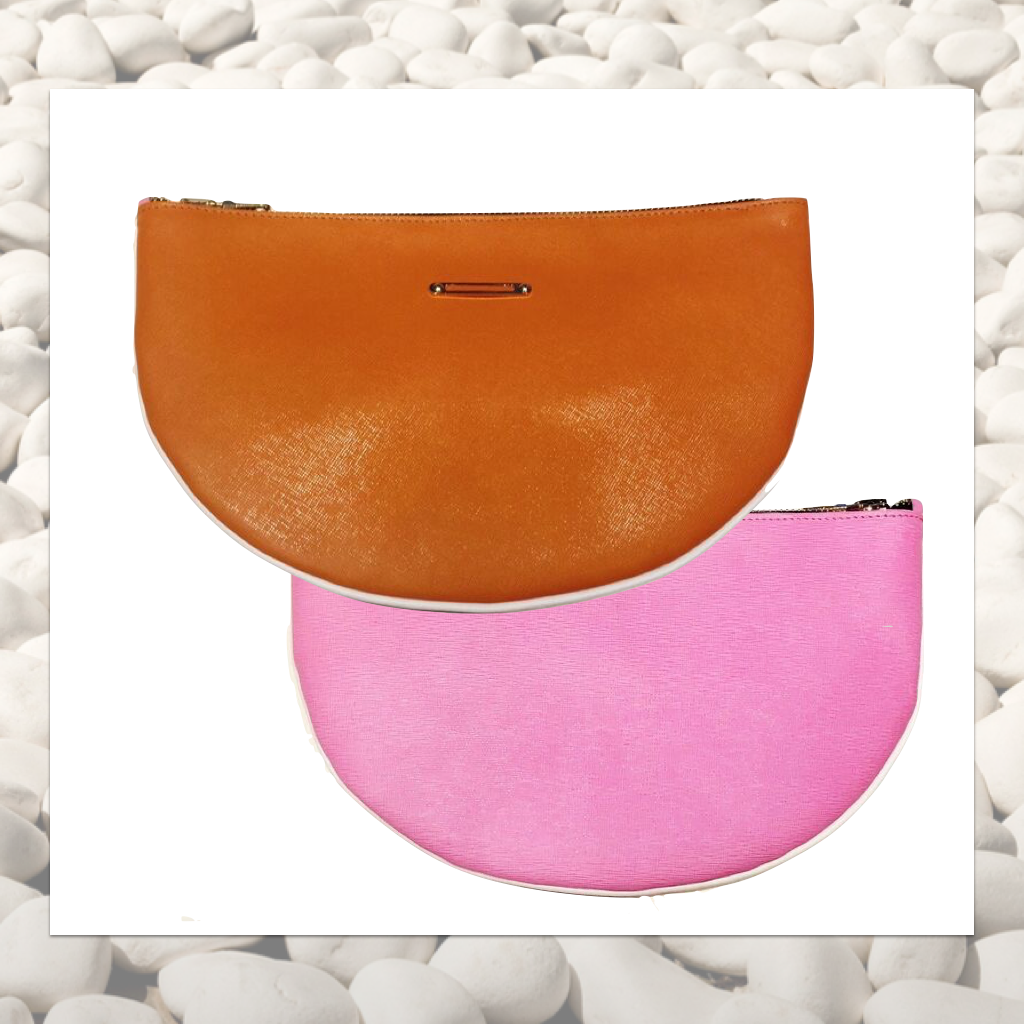 DEA ROSA <br>  Half Moon Livas Clutch, Orange