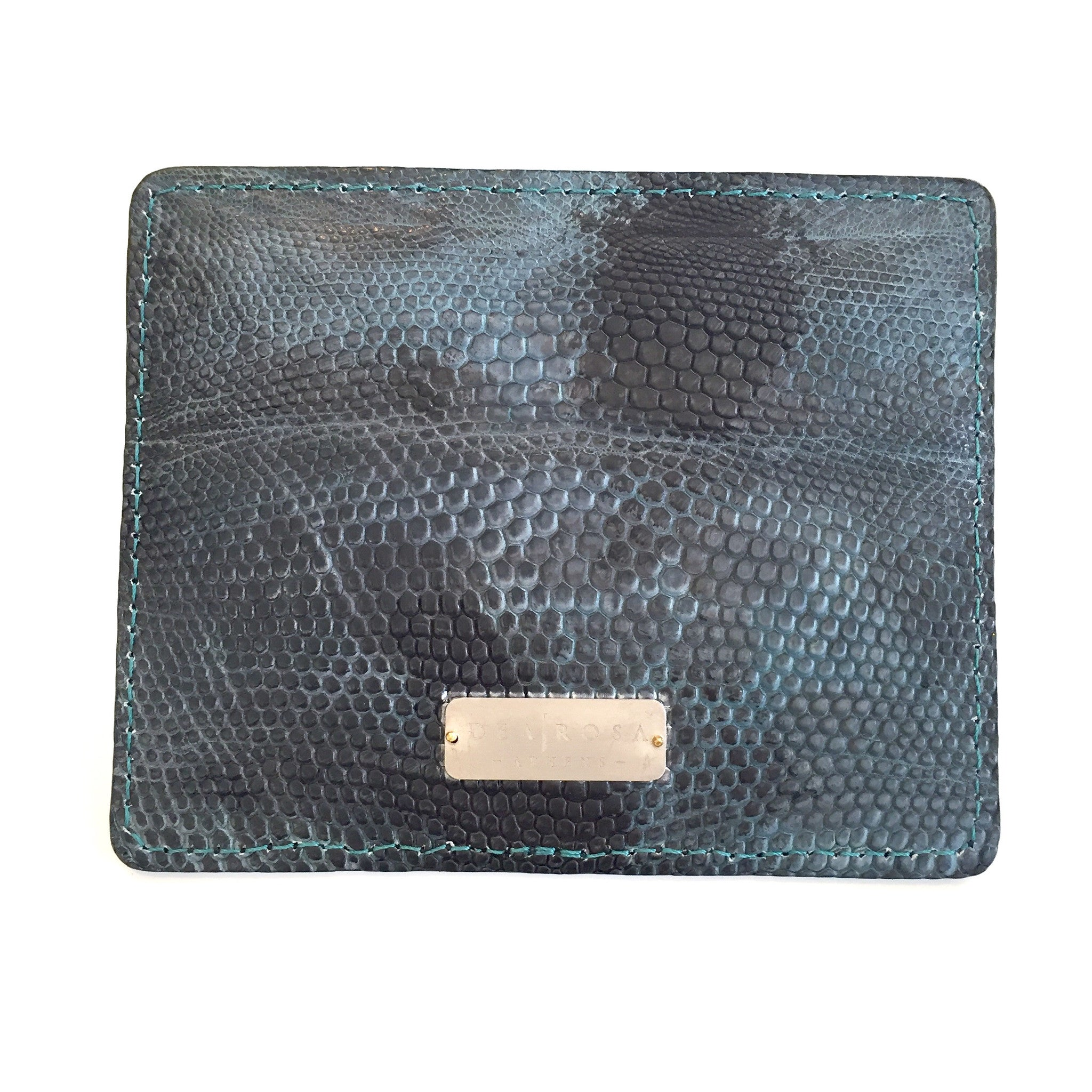 DEA ROSA <br> Petroleum Lizard Card Case with Titanium Nameplate