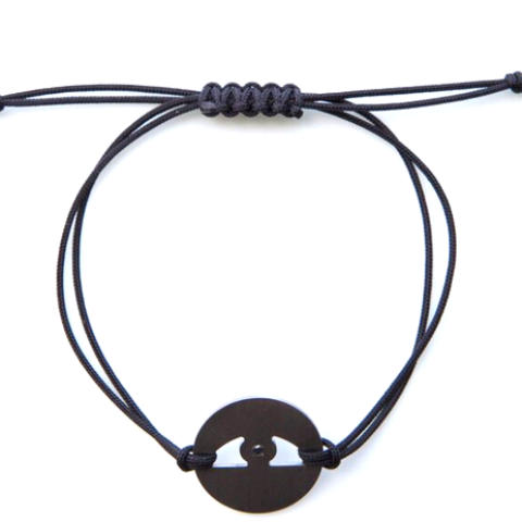WANDERLISTA <br> Evil Eye Bracelet in Titanium with Black Diamond