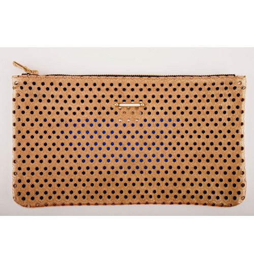 LIVAS<br>Gold Perforated Honeycomb Leather