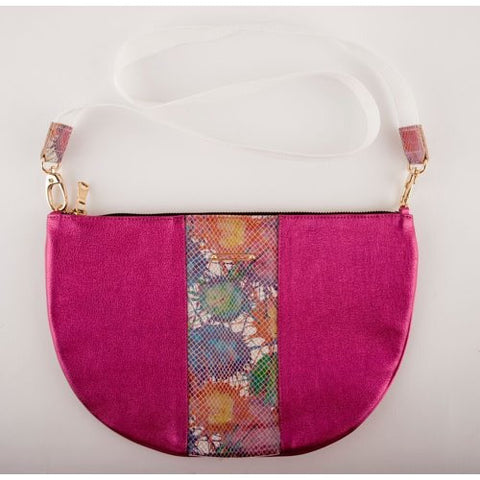 DELOS<br>Metallic Pink Leather Half Moon Bag