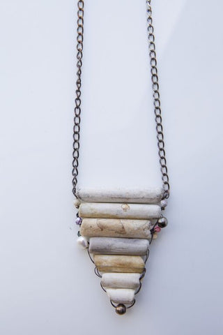 JOHN SHORTALL <br> Antique Pipe Necklace with Silver Chain