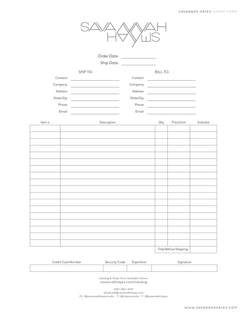 Savannah Hayes Order Form