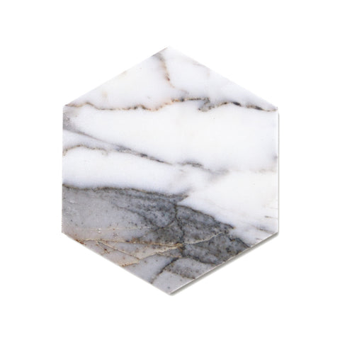 Savannah Hayes Calacatta Marble Coasters - Modern, Geometric Home Decor for Entertaining