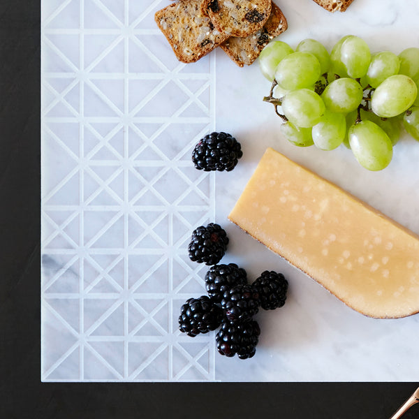 Savannah Hayes Carrara Marble Cheese Board - Modern, Geometric Home Decor for Entertaining