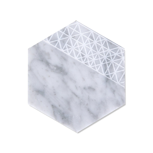 Savannah Hayes Carrara Marble Coasters - Modern, Geometric Home Decor for Entertaining