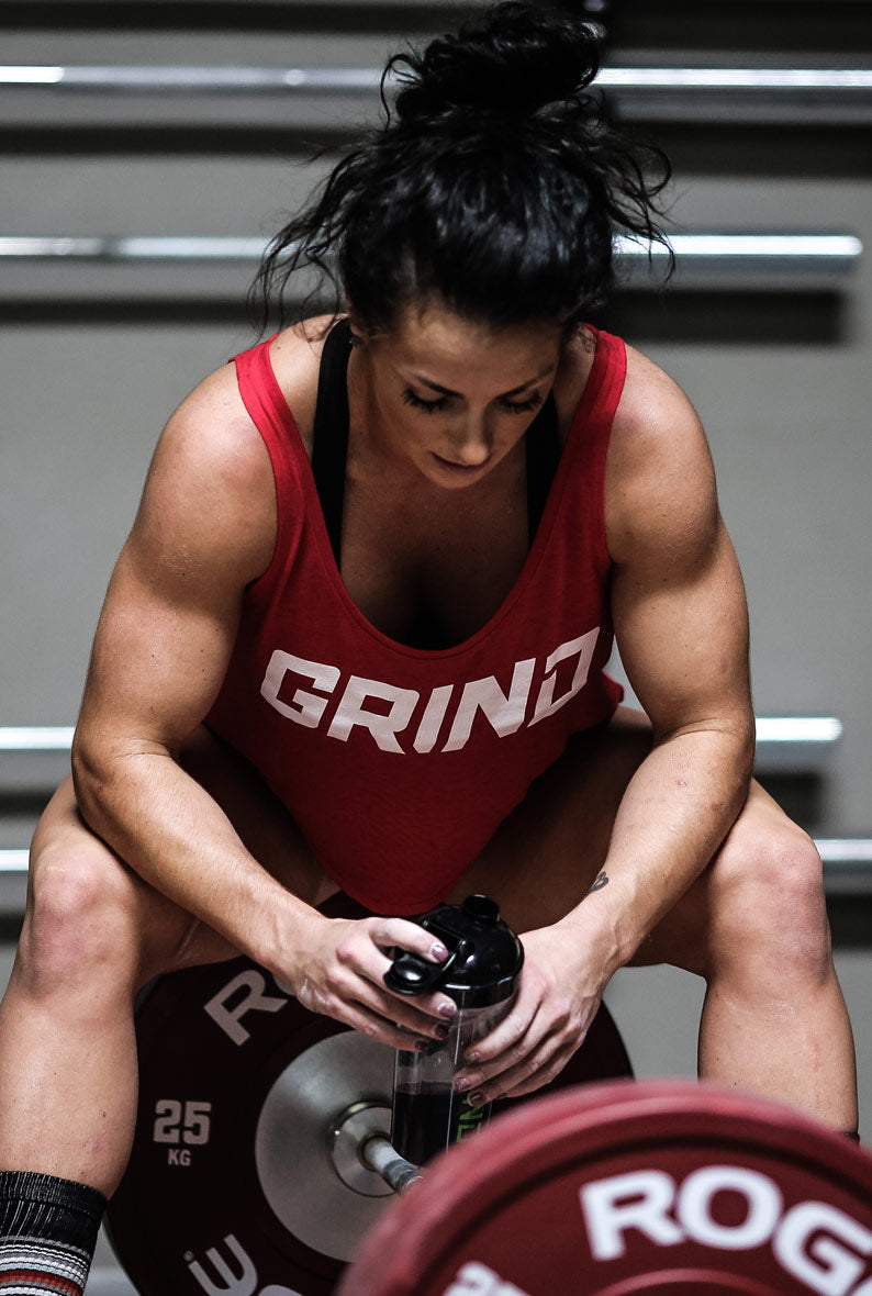 Grind brute girl sitting down