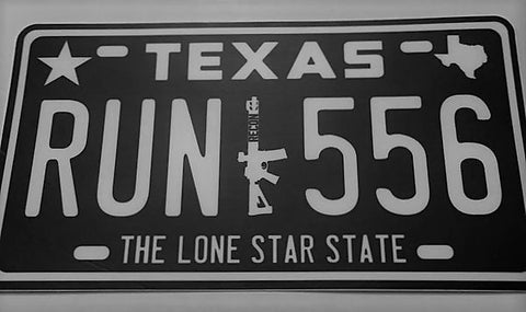Texas 5.56 License Plate Sticker