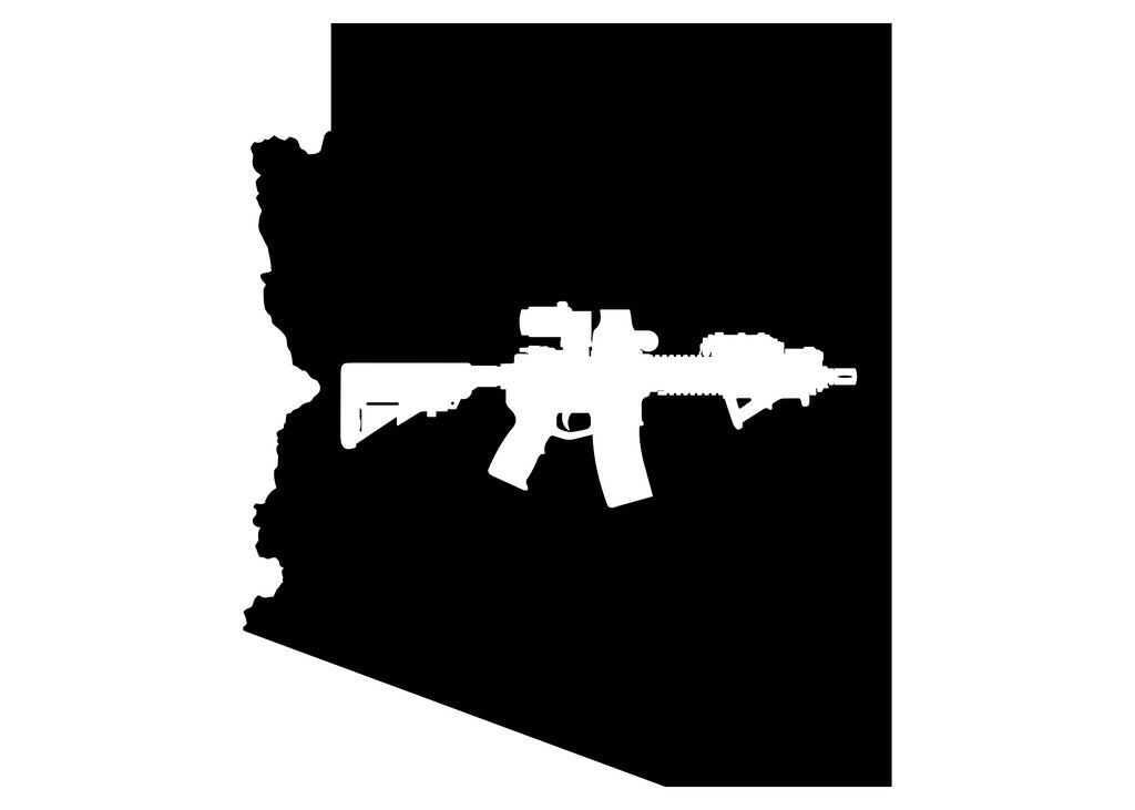 Arizona State flag MK18 Sticker (black and white)