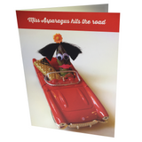 Greeting card featuring an asparagus character driving a convertible on the front