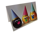 Cheeky, avocado, lemon and pear characters with party hats from Wee the Veggies