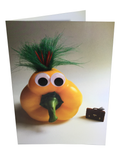 Cute, cheeky, yellow pepper character with a briefcase from Wee the Veggies cards.
