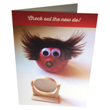 "Greeting card called ""New Do"" showing pomegranate character with wild hair"