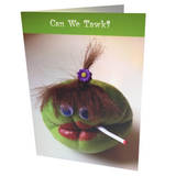 Greeting card with whimsical veggie character on front