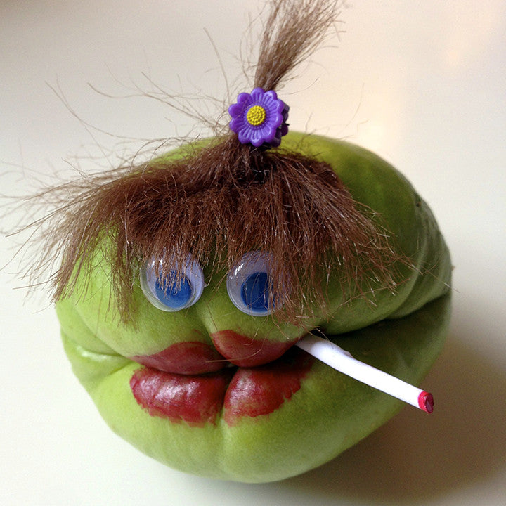 Chayote squash character with lipstick and cigarette
