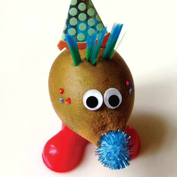 Kiwi character in a party hat