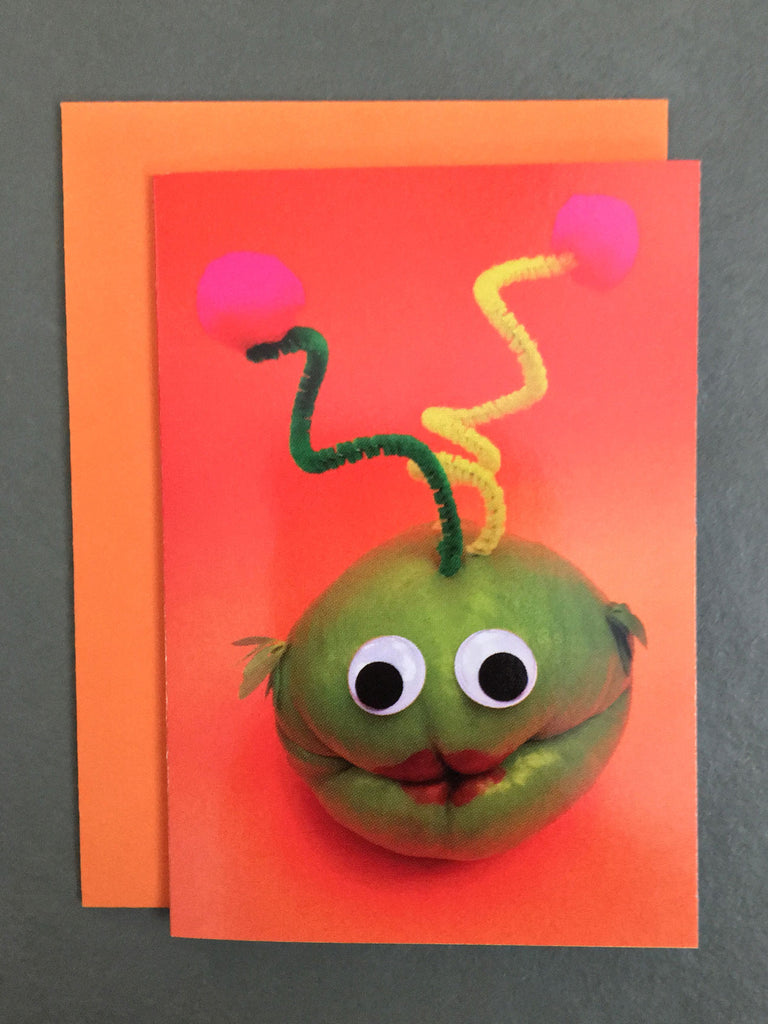 Cheeky martian made from a chayote pepper on a gift enclosure card