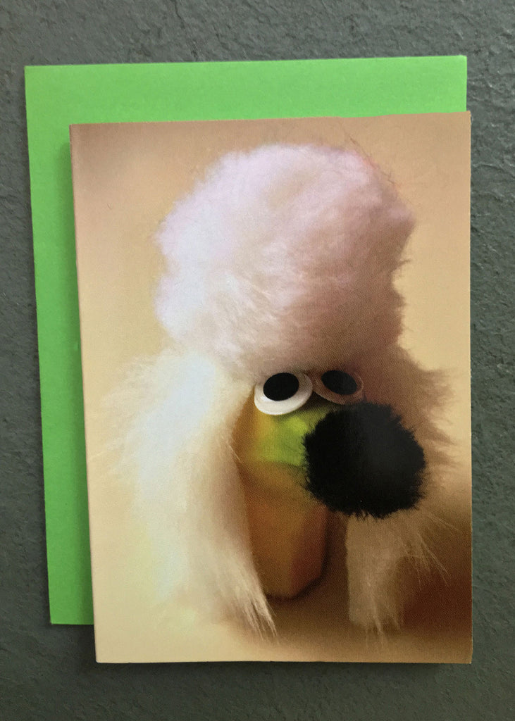 A banana poodle character on a Wee the Veggies gift enclosure card