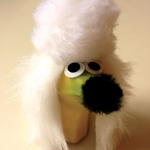 A poodle made from a banana