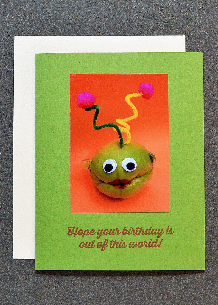 Chayote squash alien character on birthday greeting card