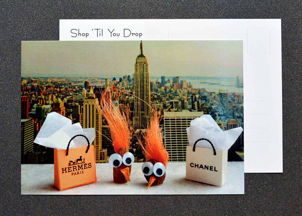 Two nuts shopping in the Big Apple on humorous postcard