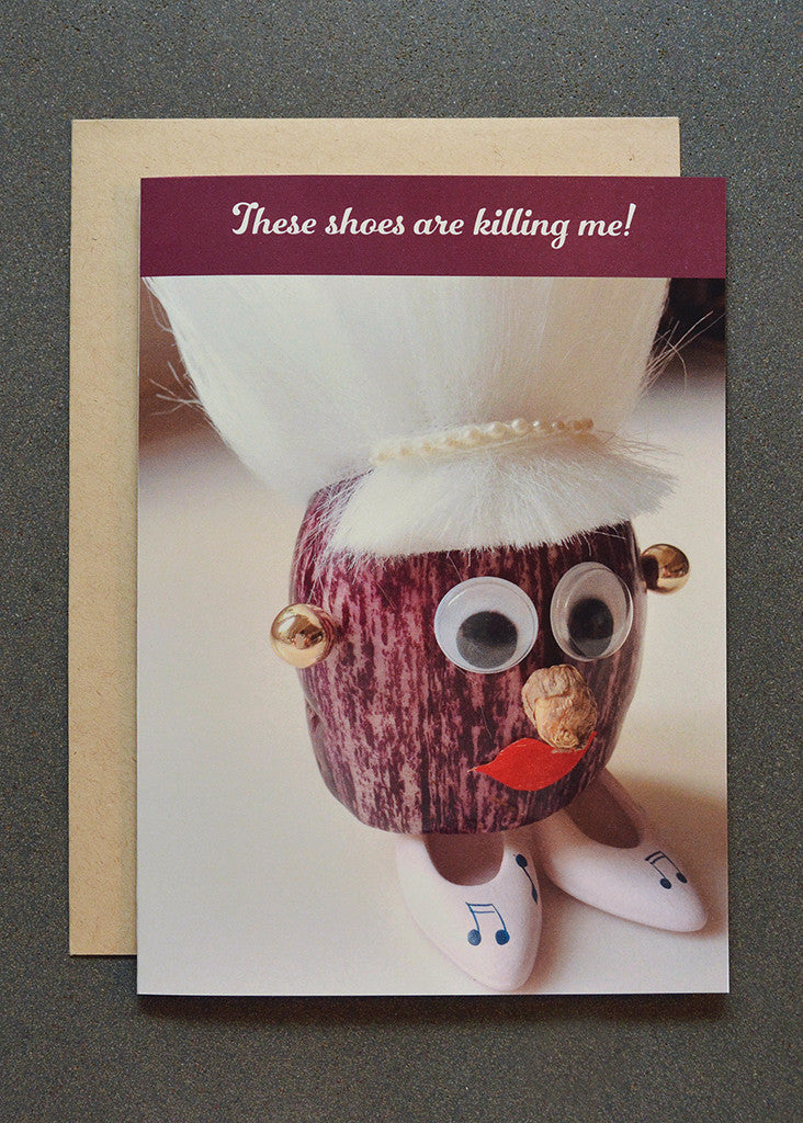 Eggplant character with big shoes humorous greeting card